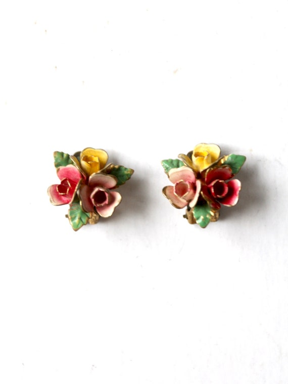 vintage 30s Austrian enamel earrings