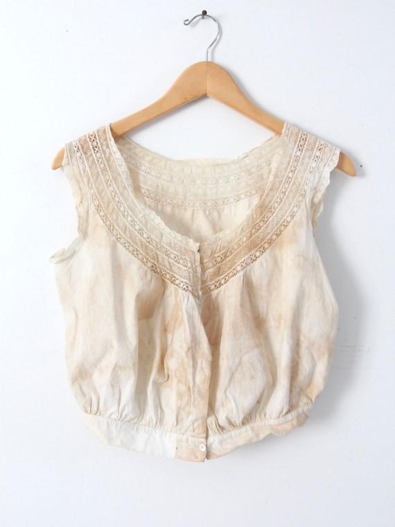 antique corset cover, Victorian cotton lace blouse - image 4