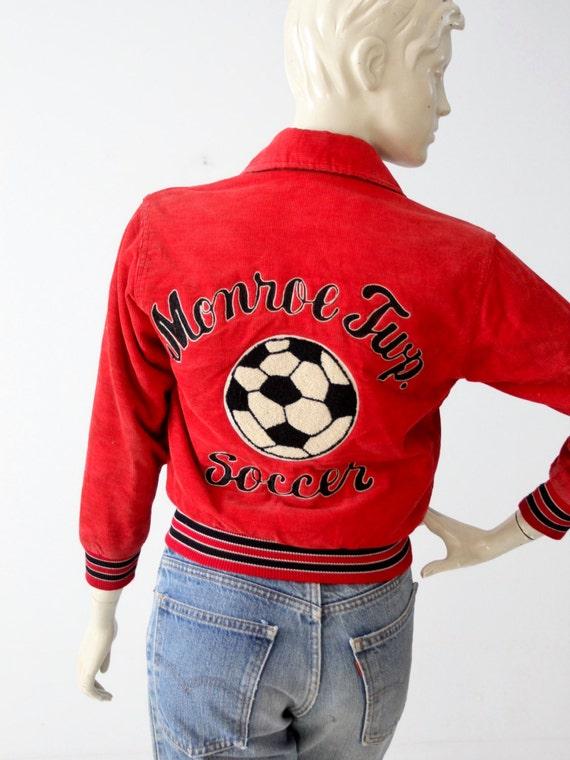 1980s soccer jacket, vintage red corduroy coat, sc