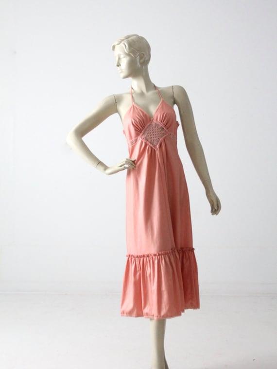 Young Edwardian halter dress, vintage 1970s hippie