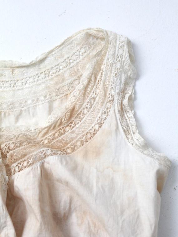 antique corset cover, Victorian cotton lace blouse - image 5