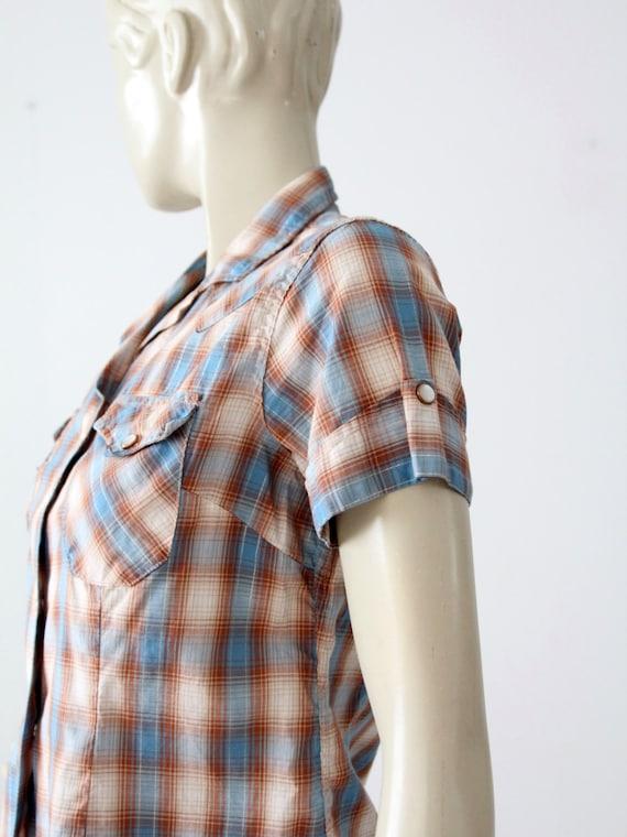 H Bar C women's shirt, 60s western rockabilly blo… - image 2