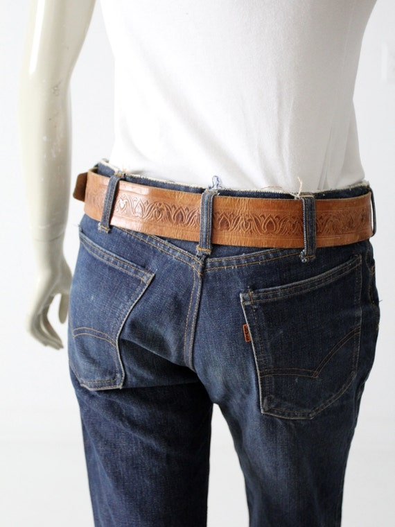 vintage leather belt, tooled brown belt with leat… - image 4