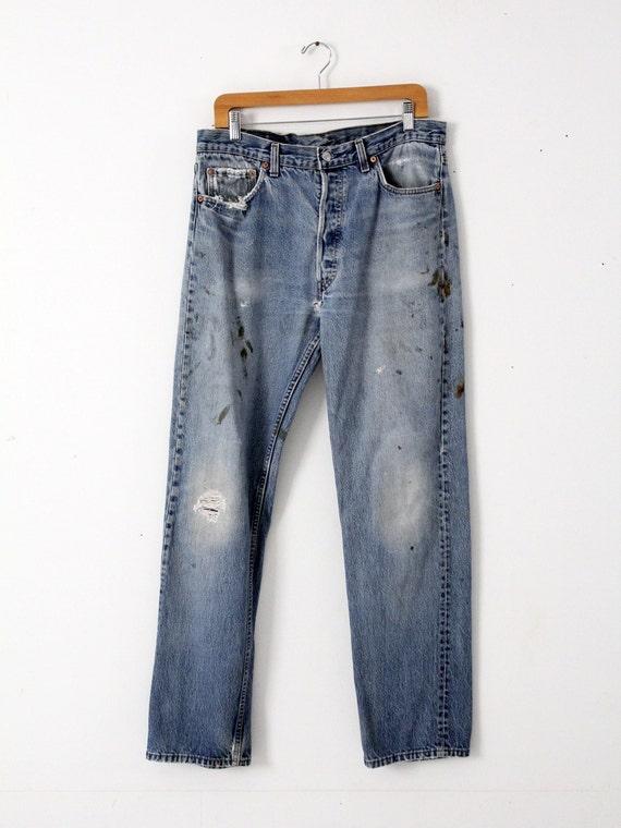 vintage 501s, Levis 501 denim jeans, distressed p… - image 2