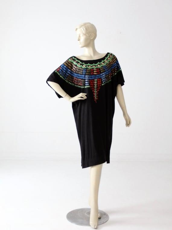 1980s Luv Tricot jersey dress, vintage black paint