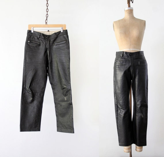 1970s black leather pants, vintage motorcycle pan… - image 1