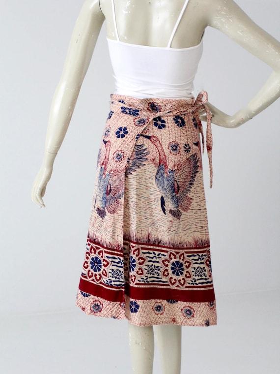 1970s India cotton wrap skirt, bird print - image 5