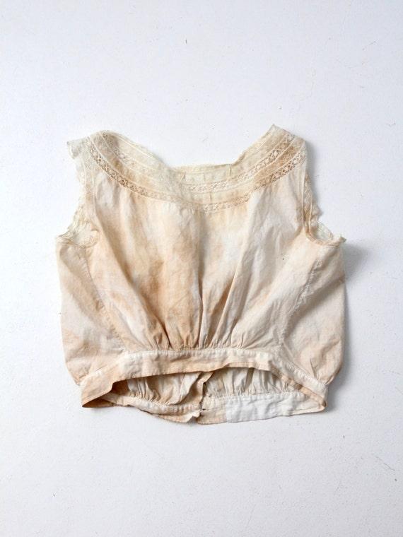 antique corset cover, Victorian cotton lace blouse - image 3