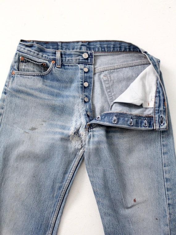 vintage 501 Levi's denim jeans, distressed Levis … - image 6
