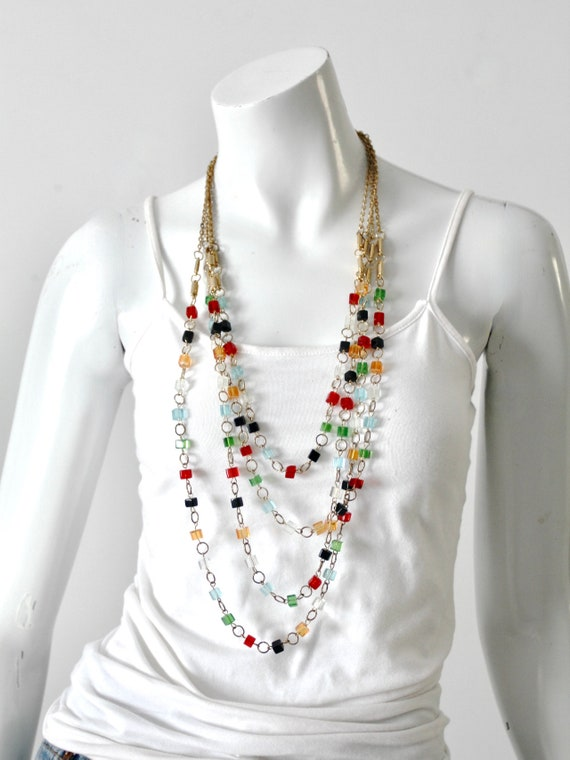 vintage multi chain beaded necklace - image 3