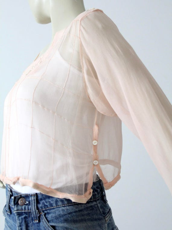 antique silk blouse, Edwardian pink top - image 4