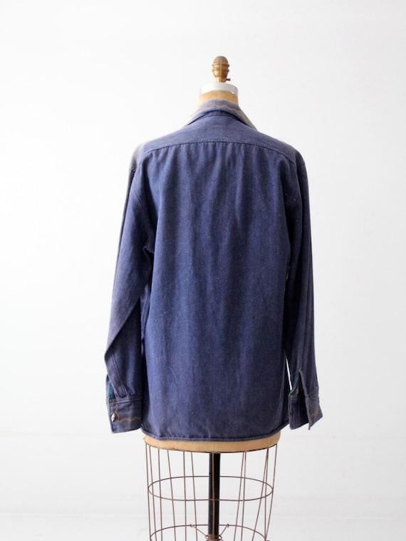 vintage 70s denim shirt / embroidered hippie top - image 4