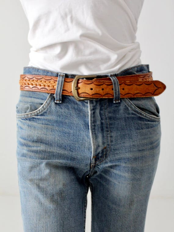 vintage tooled leather belt, 70s brown woven leath