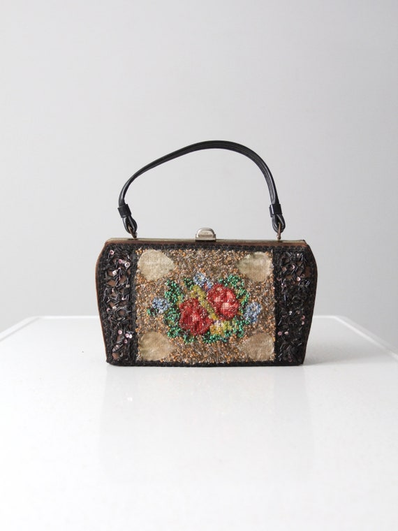 Caron of Houston handbag - 1960s black satin beade