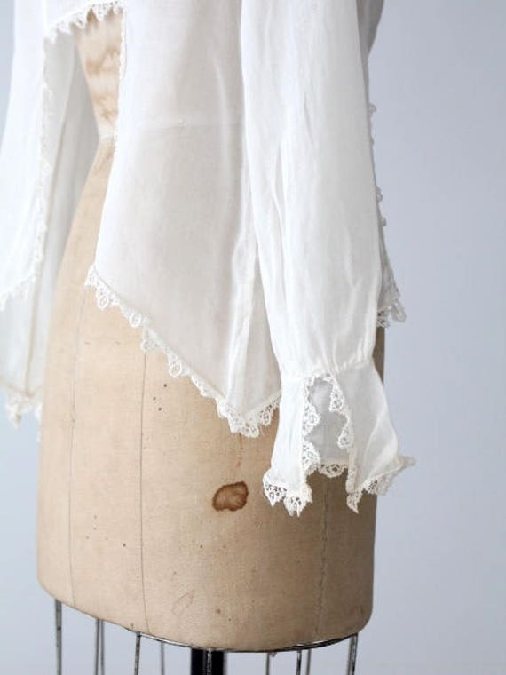 1900s blouse, Victorian white top, antique cotton… - image 9