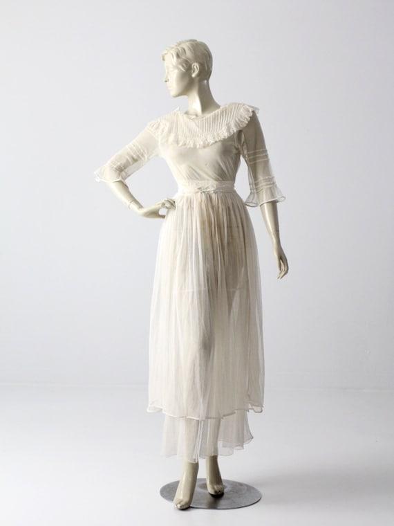 Victorian white lace dress, xs antique dress