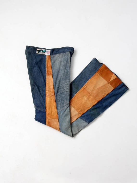 1970s Antonio Guiseppe jeans, denim and leather pa