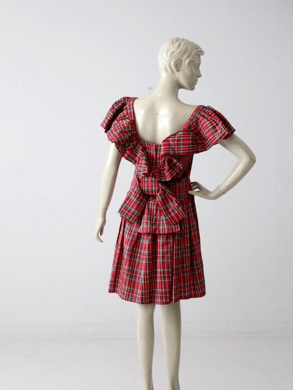 1960s plaid taffeta party dress, red plaid holiday