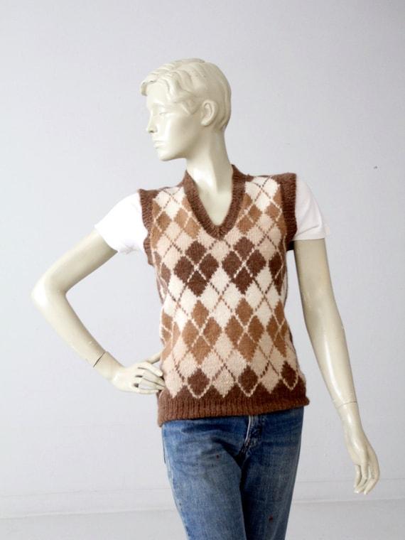 vintage Nordstroms alpaca sweater vest, argyle ve… - image 1