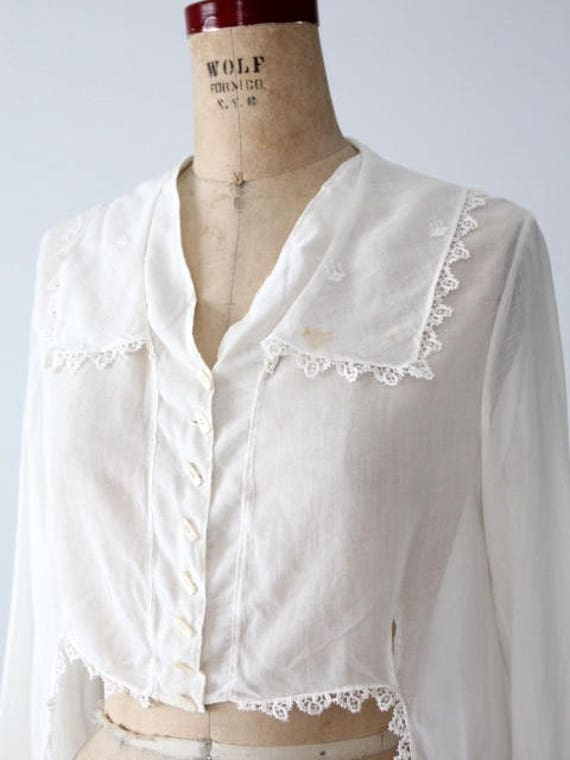 1900s blouse, Victorian white top, antique cotton… - image 5