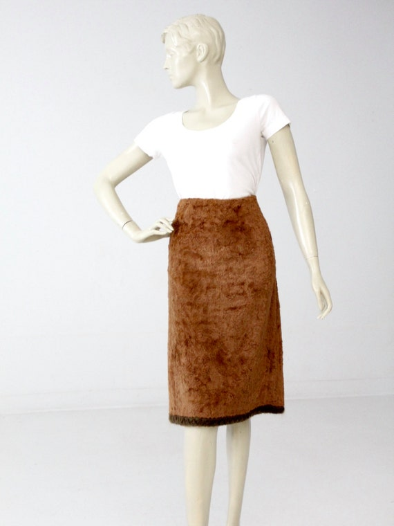vintage faux fur skirt, brown fitted skirt