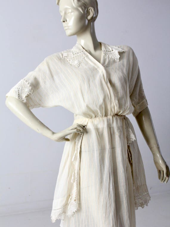 Edwardian tea dress, 1900s ivory dress - image 6