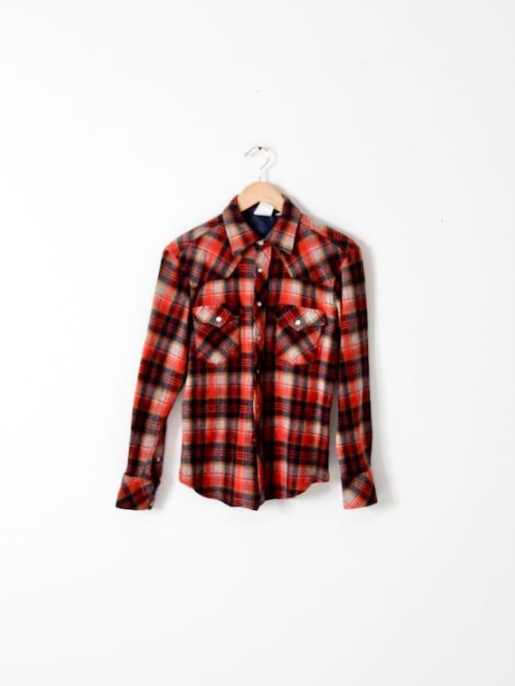 vintage 70s wool plaid western shirt