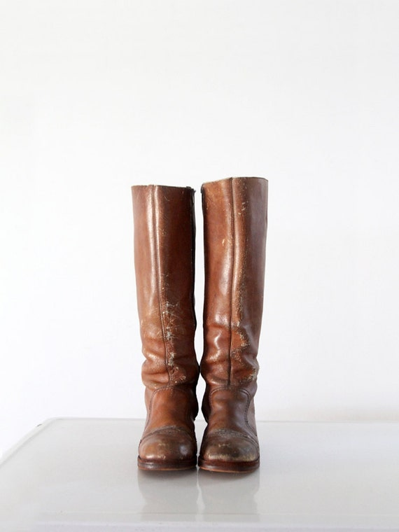 1970s hippie boots, tall brown leather boots, wome