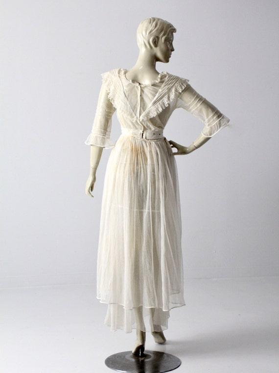 Victorian white lace dress, xs antique dress - image 5