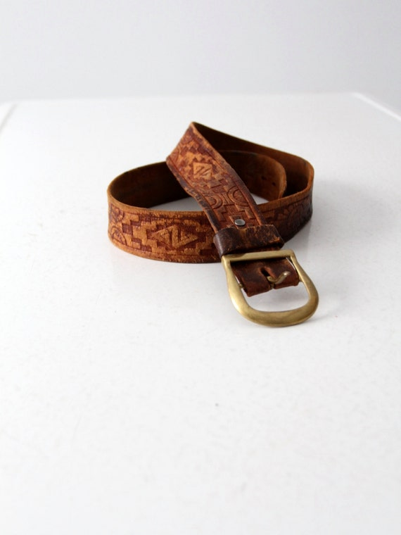 vintage tooled leather belt, brown leather belt wi