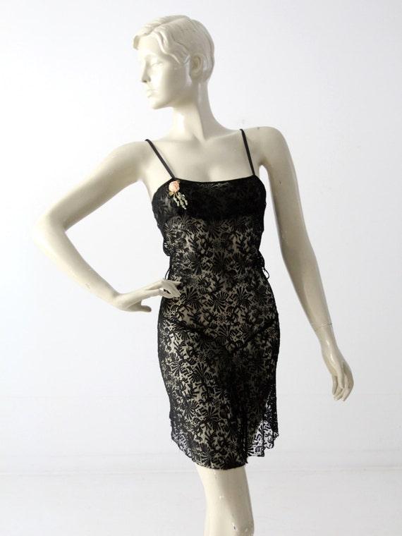 1930s black lace negligee slip, vintage nightie li