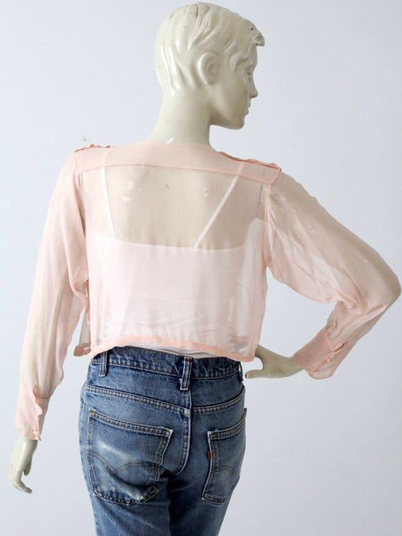 antique silk blouse, Edwardian pink top - image 5