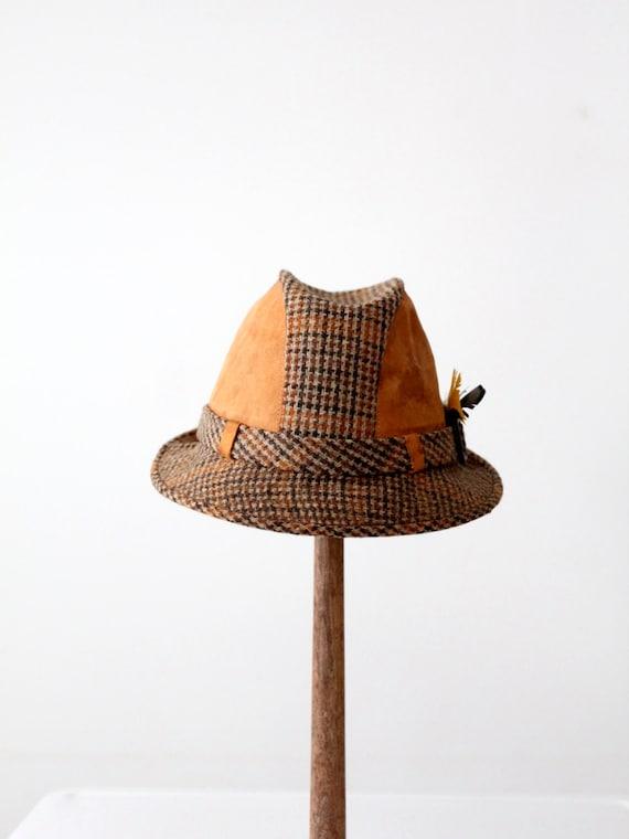 vintage Resistol fedora, 60s tweed and leather fed
