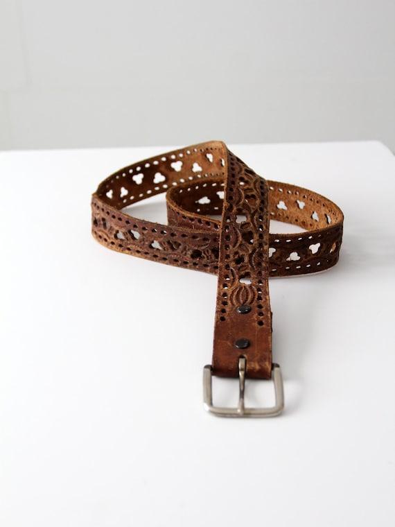 1970s leather belt, vintage cut out brown belt