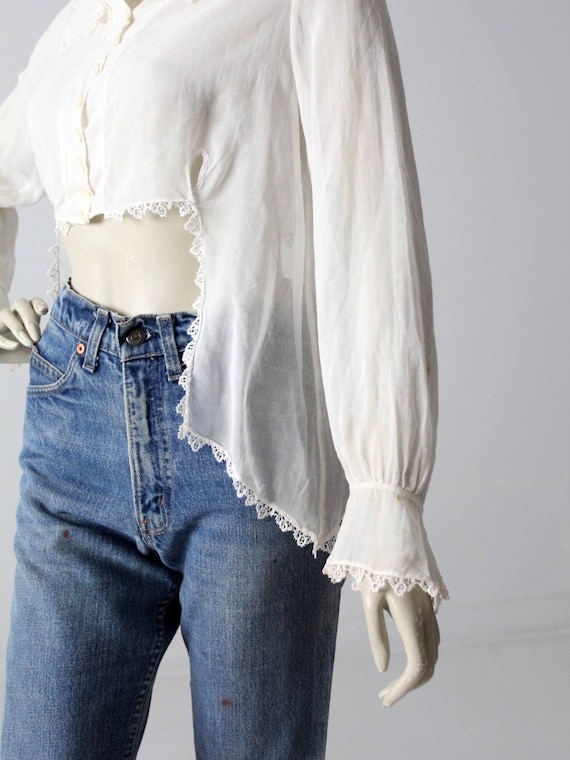 1900s blouse, Victorian white top, antique cotton… - image 3