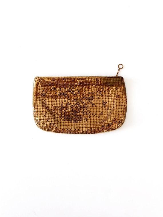 Duramesh gold clutch, 1950s metal mesh handbag, ev