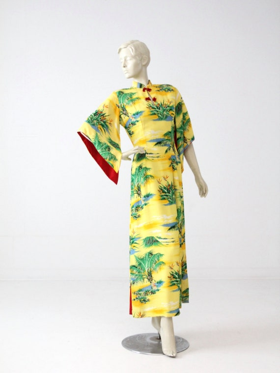 1950s Hale Hawaii dress, yellow rayon maxi dress