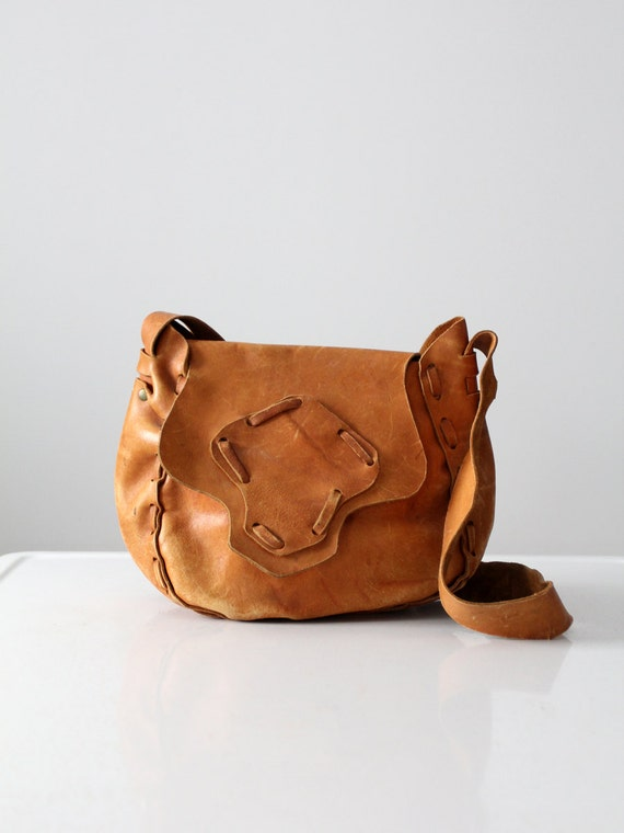1970s leather purse, vintage boho bag