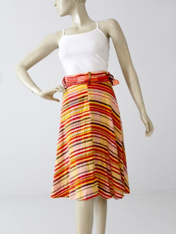 1970s gauze cotton wrap skirt, striped wrap around