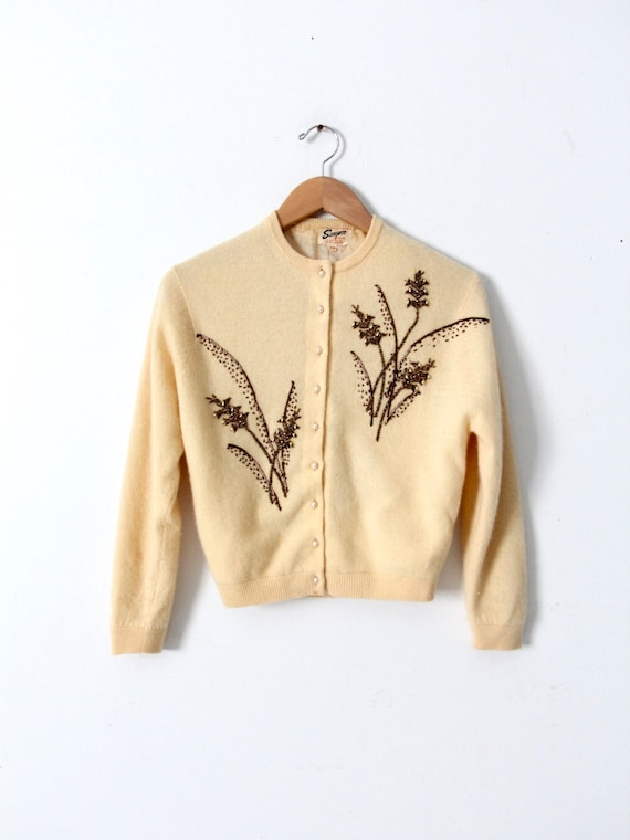 vintage 1950s beaded cardigan sweater
