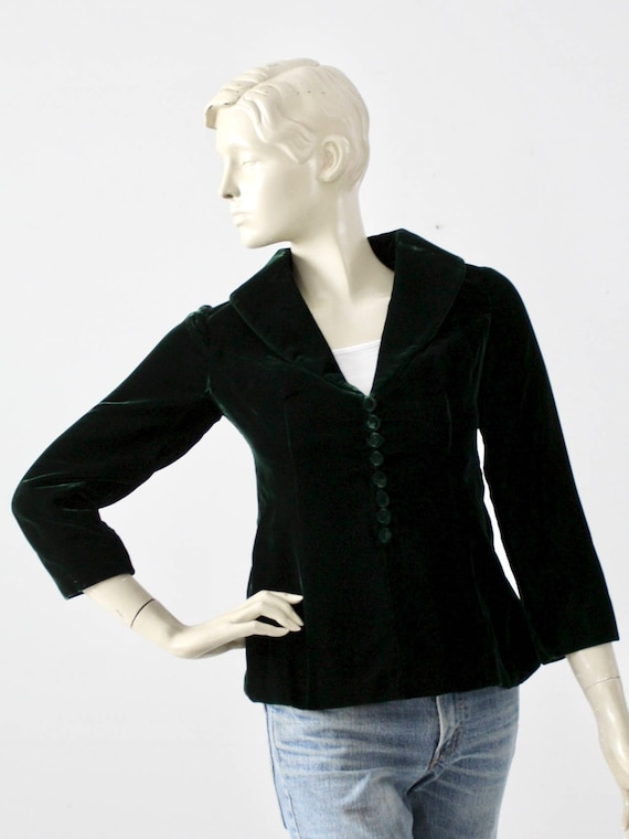 1970s velvet blazer, vintage dark green boho jacke