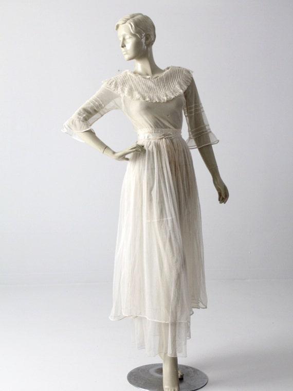 Victorian white lace dress, xs antique dress - image 3