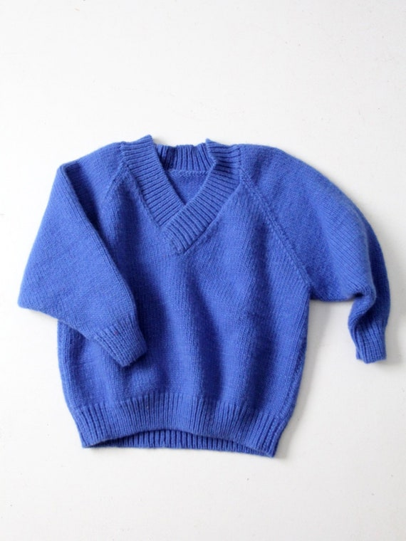 vintage hand knit sweater, blue chunky knit pullov