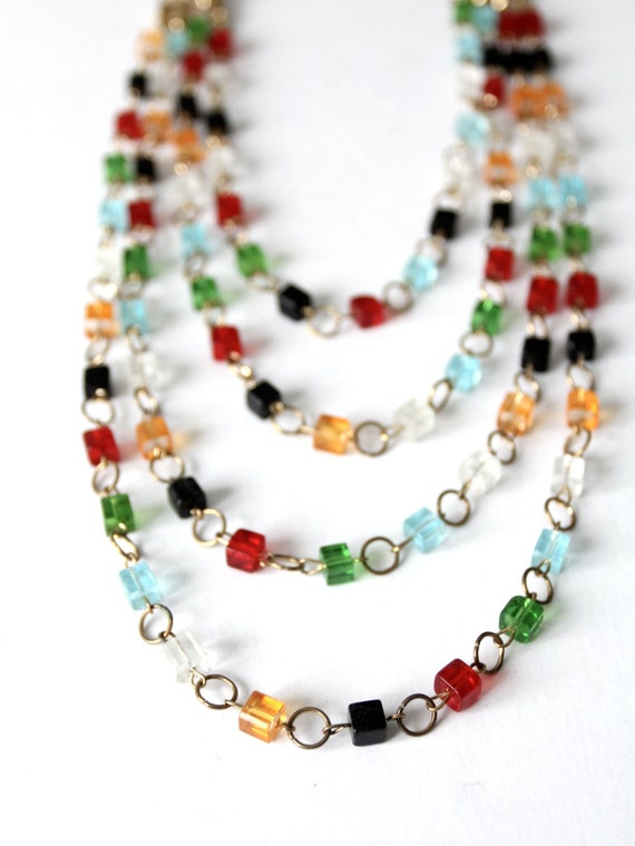 vintage multi chain beaded necklace - image 5