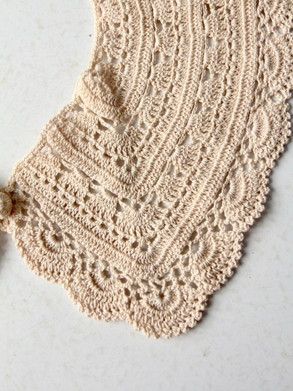 antique lace collar, hand crotchet - image 8