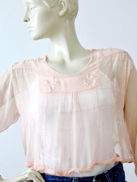 antique silk blouse, Edwardian pink top - image 2
