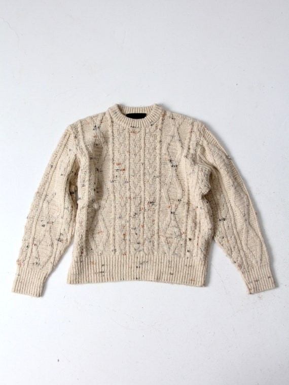 vintage cable knit sweater, cream knit pullover