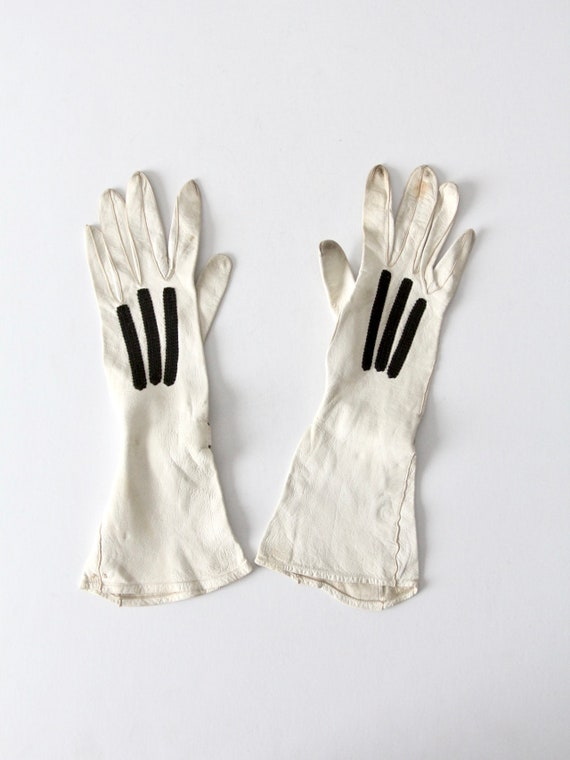 vintage leather gloves, white classic length drivi