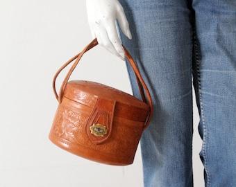vintage 50s tooled leather pillbox handbag
