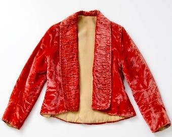 vintage velvet blazer, coral velvet jacket